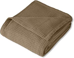 Sweet Home Collection 100% Fine Cotton Luxurious Basket Weave Blanket, Taupe