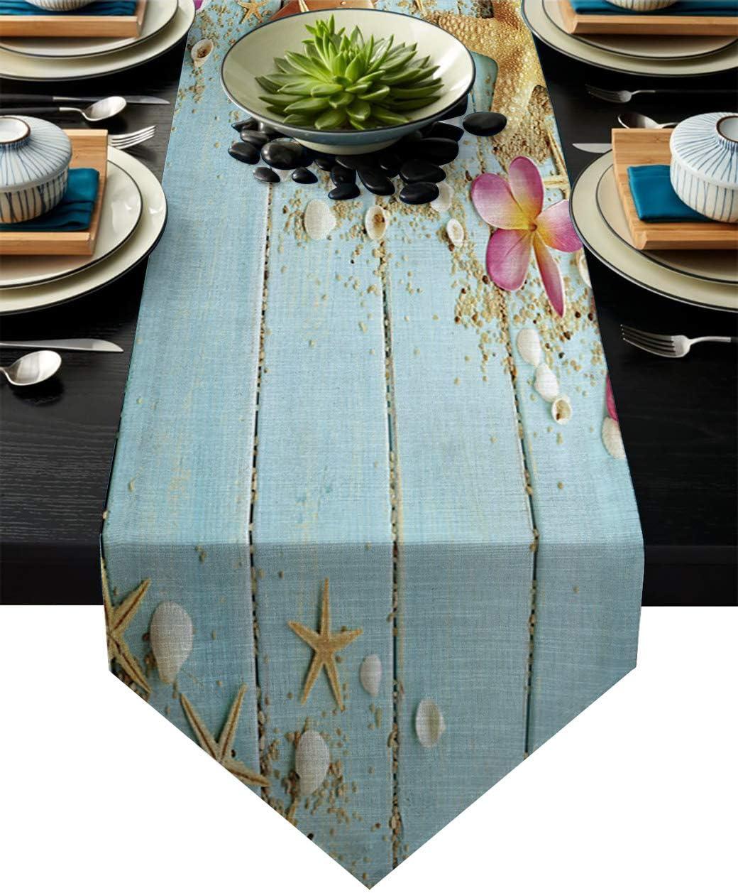 "Vandarllin Cotton Linen Table Runner Dresser Scarves Beach Theme Seashells&Blue Rustic Wood Non-Slip Burlap Table Setting Decor for Wedding Party Holiday Dinner Home, 14""x72"""