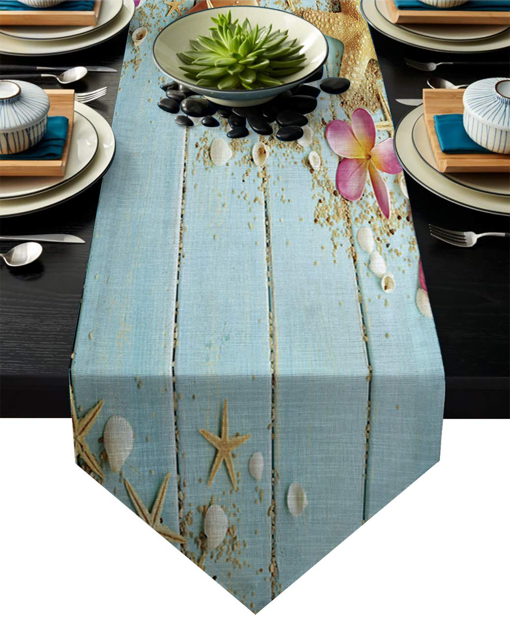 "Vandarllin Cotton Linen Table Runner Dresser Scarves Beach Theme Seashells&Blue Rustic Wood Non-Slip Burlap Table Setting Decor for Wedding Party Holiday Dinner Home, 13""x70"""