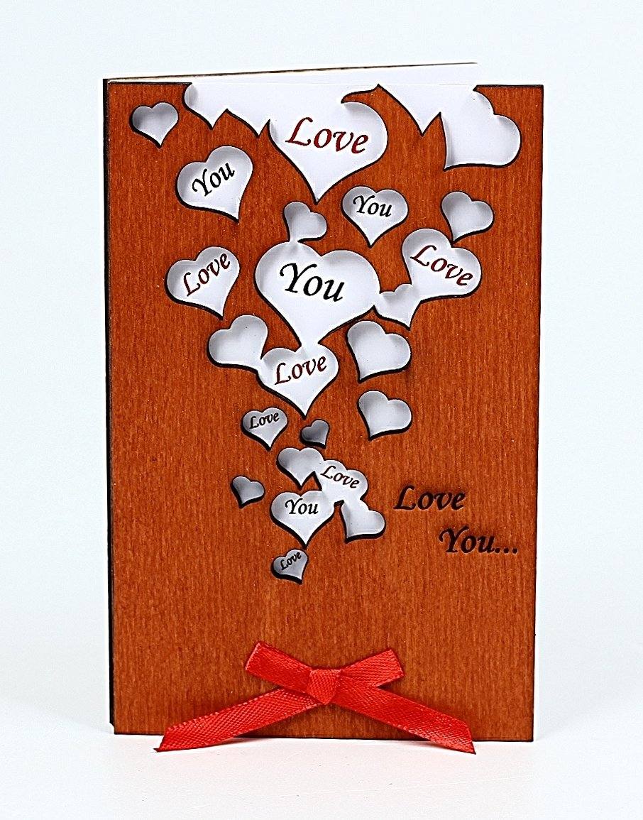 Handmade Love You Many Hearts Real Wood Greeting Card Best Unusual