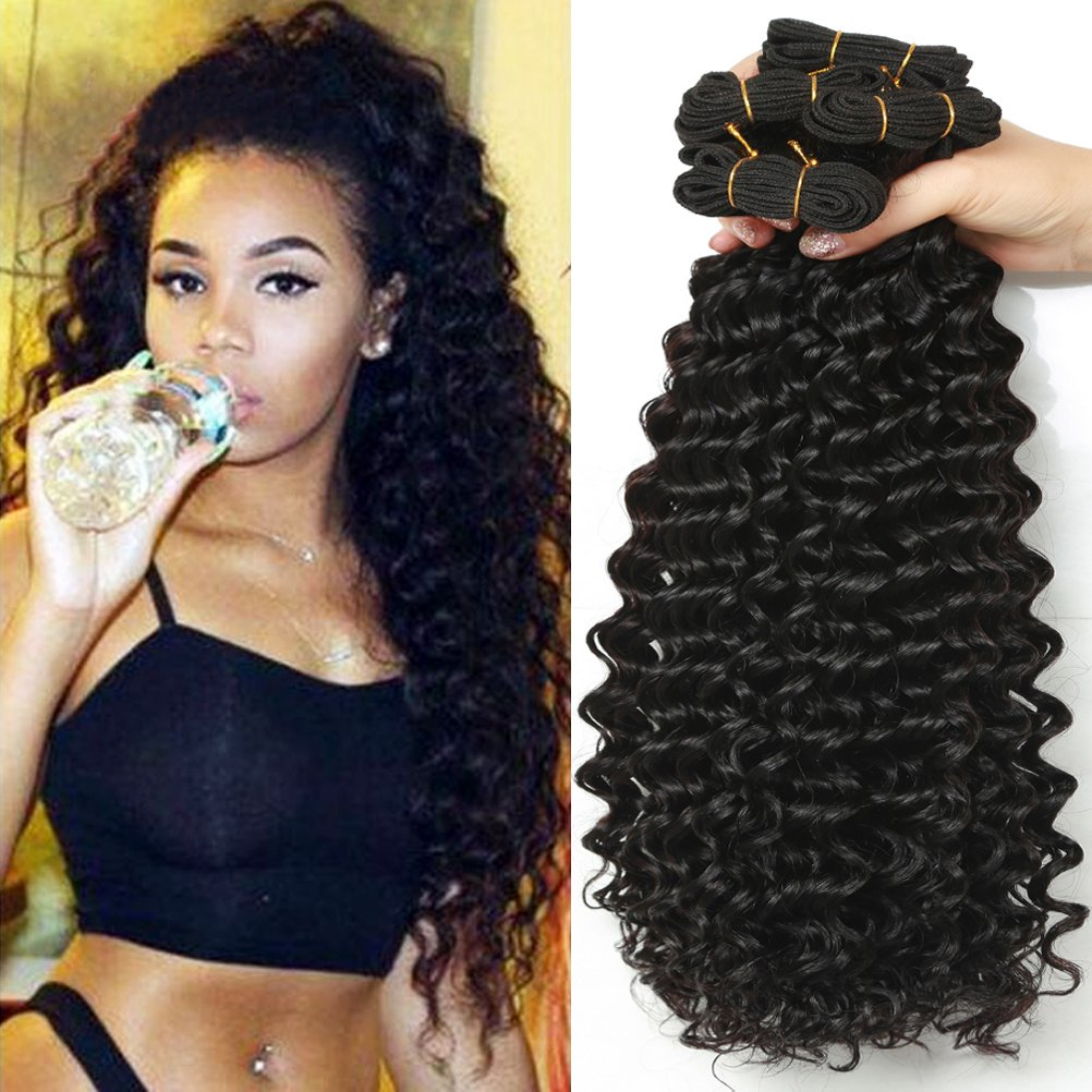 10A Virgin Malaysian Deep Wave Human Hair Weave 3 Bundles 300g 18 20 22 inch 100% Unprocessed Deep Wave Virgin Hair Weave Human Hair Extensions Natural Black Color, Can be Dyed
