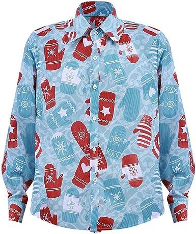 Camisa De Navidad para Mujer Bajar El Escote De Vintage Blusa Navidad Papá Noel con Manga Larga Impresa Camiseta: Amazon.es: Ropa y accesorios