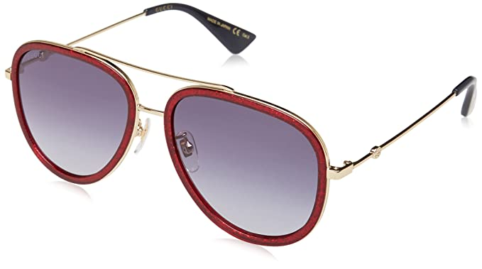 Gucci GG0062S, Gafas de Sol para Mujer, Multicolor (Red/Blue ...