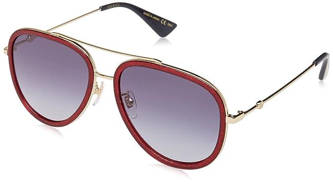 Gucci GG0062S, Gafas de Sol para Mujer, Multicolor (Red/Blue),