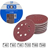 Lot de 120 disques abrasifs diamètre 125 mm grain 20 x 40/60/80/120/180/240 pour ponceuse excentrique