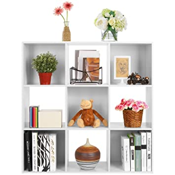HOMFA Librería Estantería de 3 niveles 9 cajas Armario modular carga de 80 Kg 91*91*30cm tablero de afeitar: Amazon.es: Hogar
