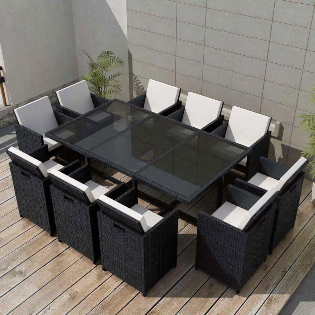 Tidyard 34-TLG. Garten Essgruppe Polyrattan Gartengarnitur Sitzgruppe Stahlrahmen Gartenmöbel aus 1 Tisch mit Glasplatte, 10 Stühle und 20 Kissen - Schwarz