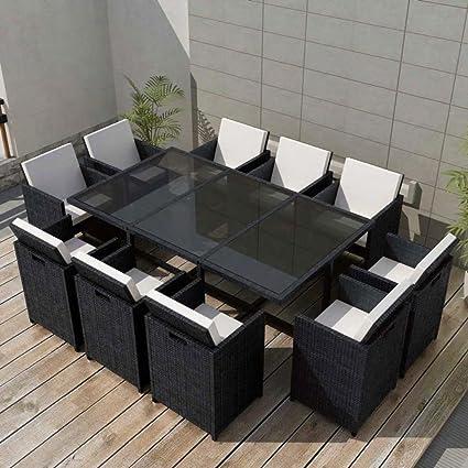 Tidyard Conjunto Muebles de Jardín de Ratán 31 Piezas Sofa ...