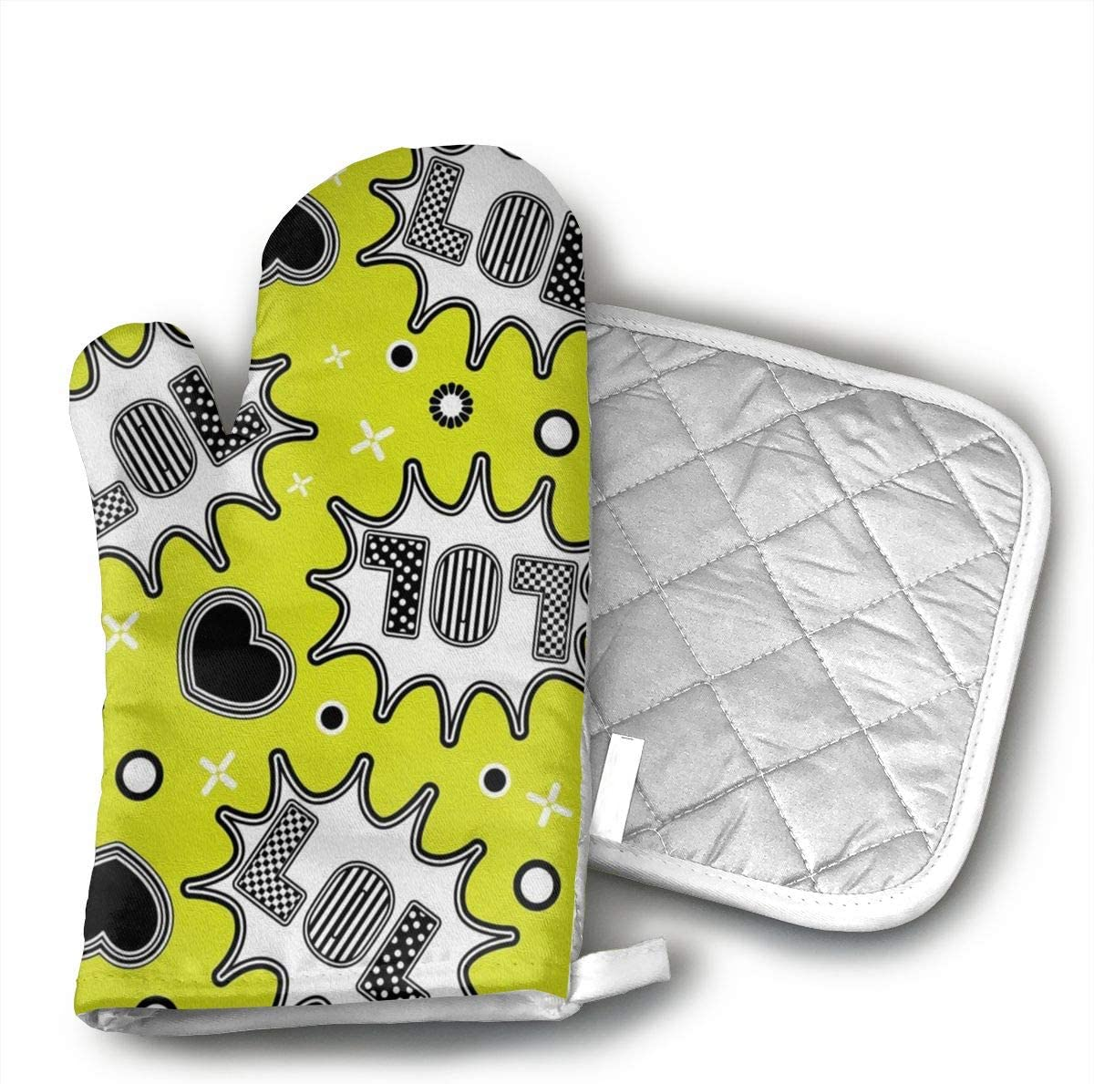 ZYZILYSBS LOL Oven Mitts and Pot Holders Soft Cotton Lining with Non-Slip Surface Heat Resistant Oven Gloves for Kitchen BBQ Cooking Baking Grilling Microwave