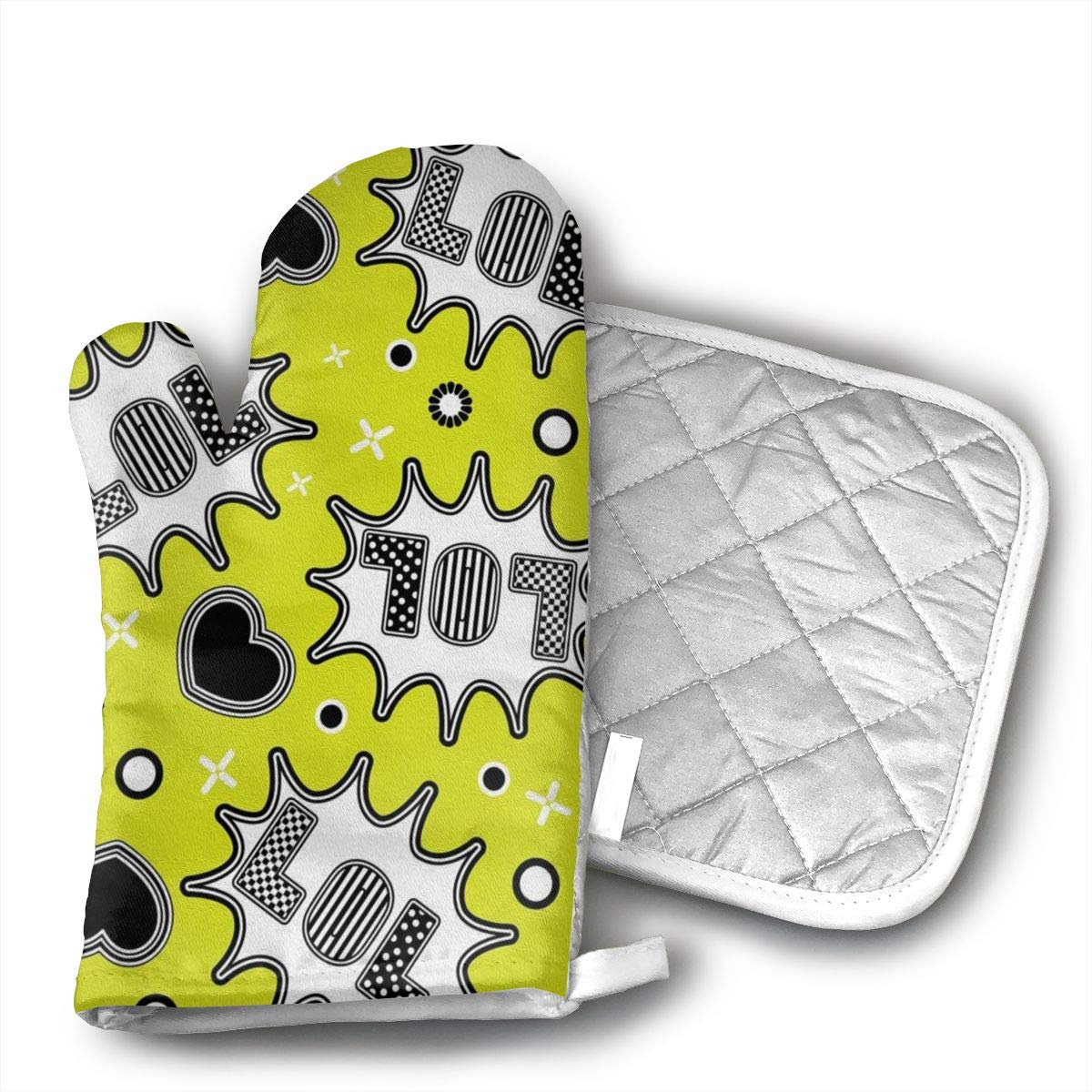 MEILVWEN LOL Oven Mitt and Pot Holder Set,Heat Resistant for Cooking and Baking Kitchen Gift