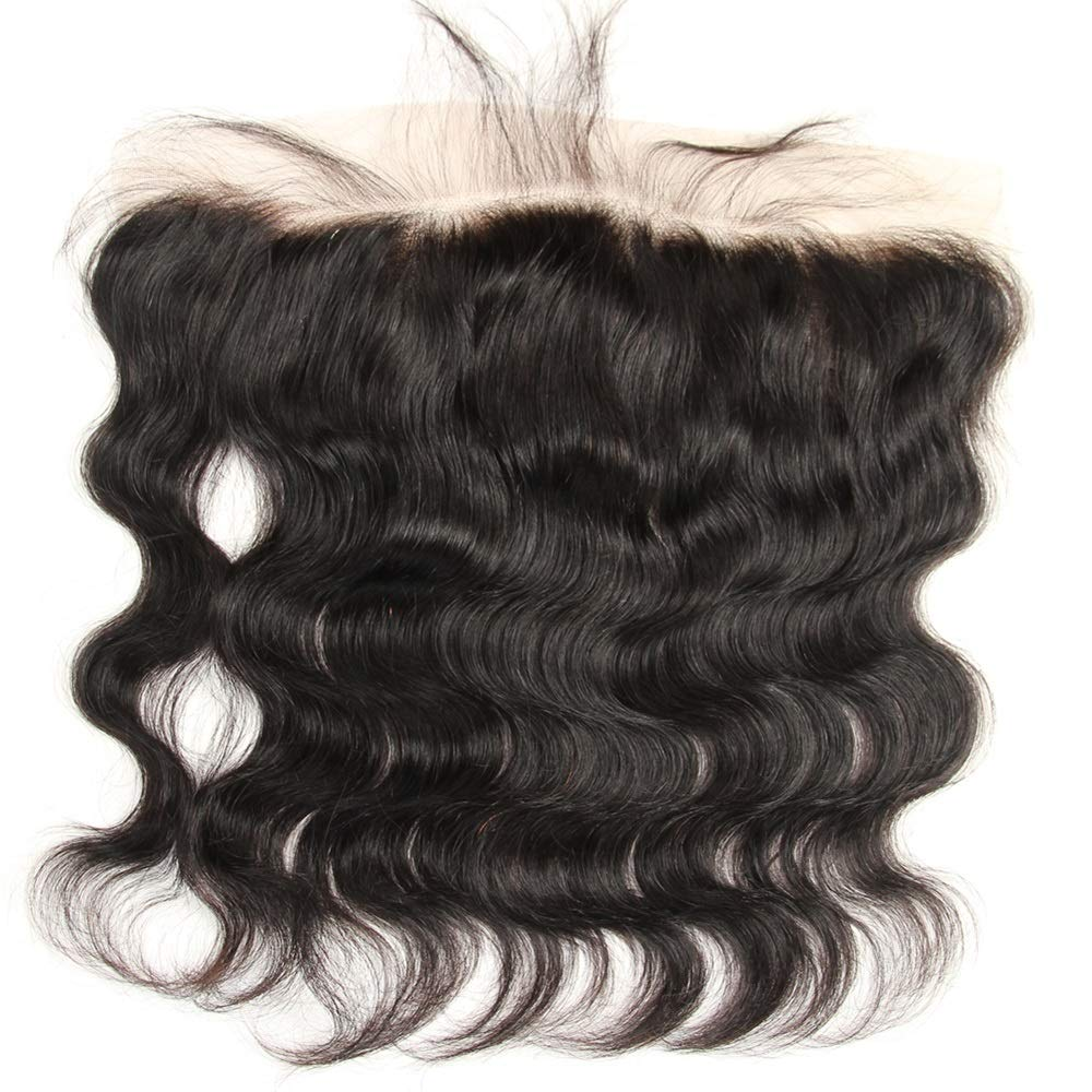 10 Inch Transparent Lace Frontal Closure 13 x 4 Human Hair Body Wave Pre Plucked Ear To Ear Lace Frontals With Bangs Baby Hair Knots Can Be Bleached