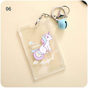 Kawaii Unicorn BUS & ID Card Cover - Funda para tarjeta de identificación, diseño de dibujos animados, transparente