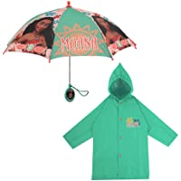 Disney Girls' Little Moana Slicker and Umbrella Rainwear Set, Green, Age