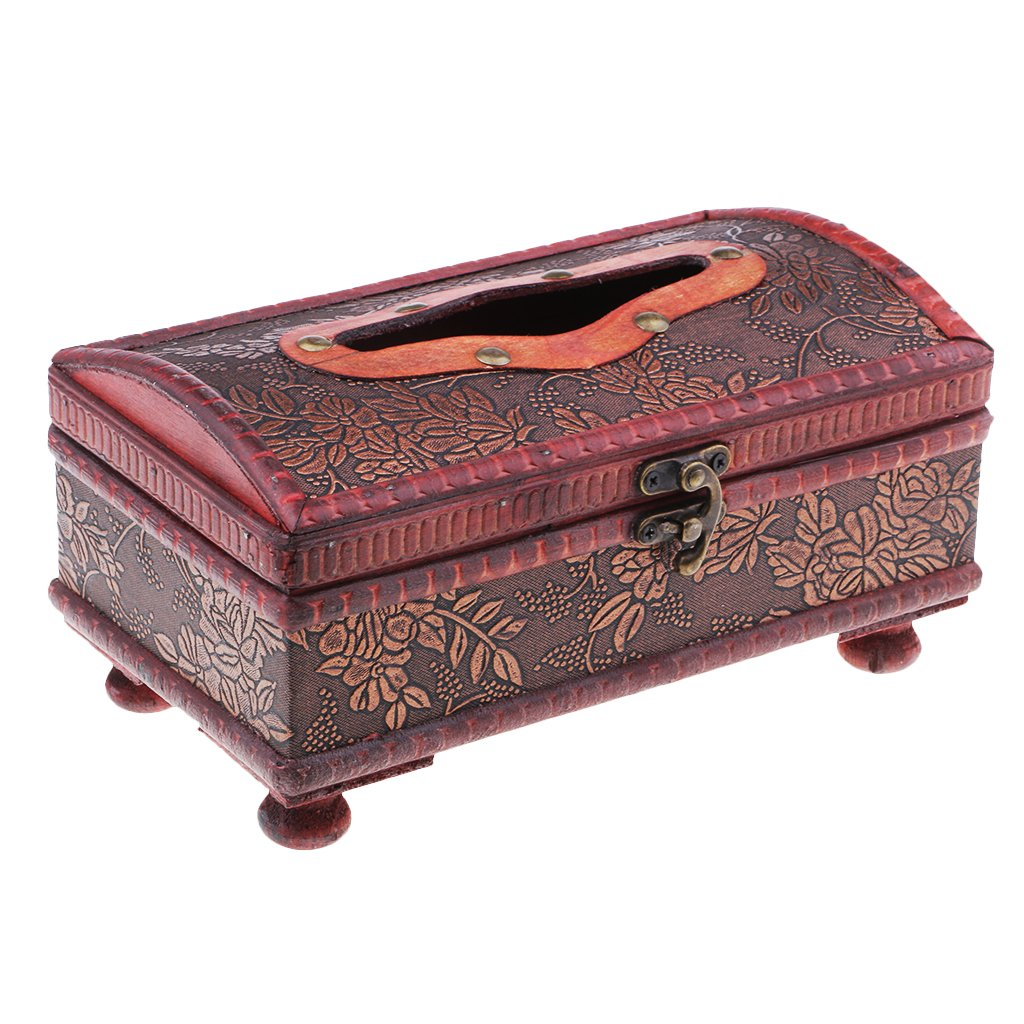Homyl Retro Chinese Old wooden Facial Paper Case leather Bronze lock Tissue box - Grape Pattern, 21 x 12x 10.5cm
