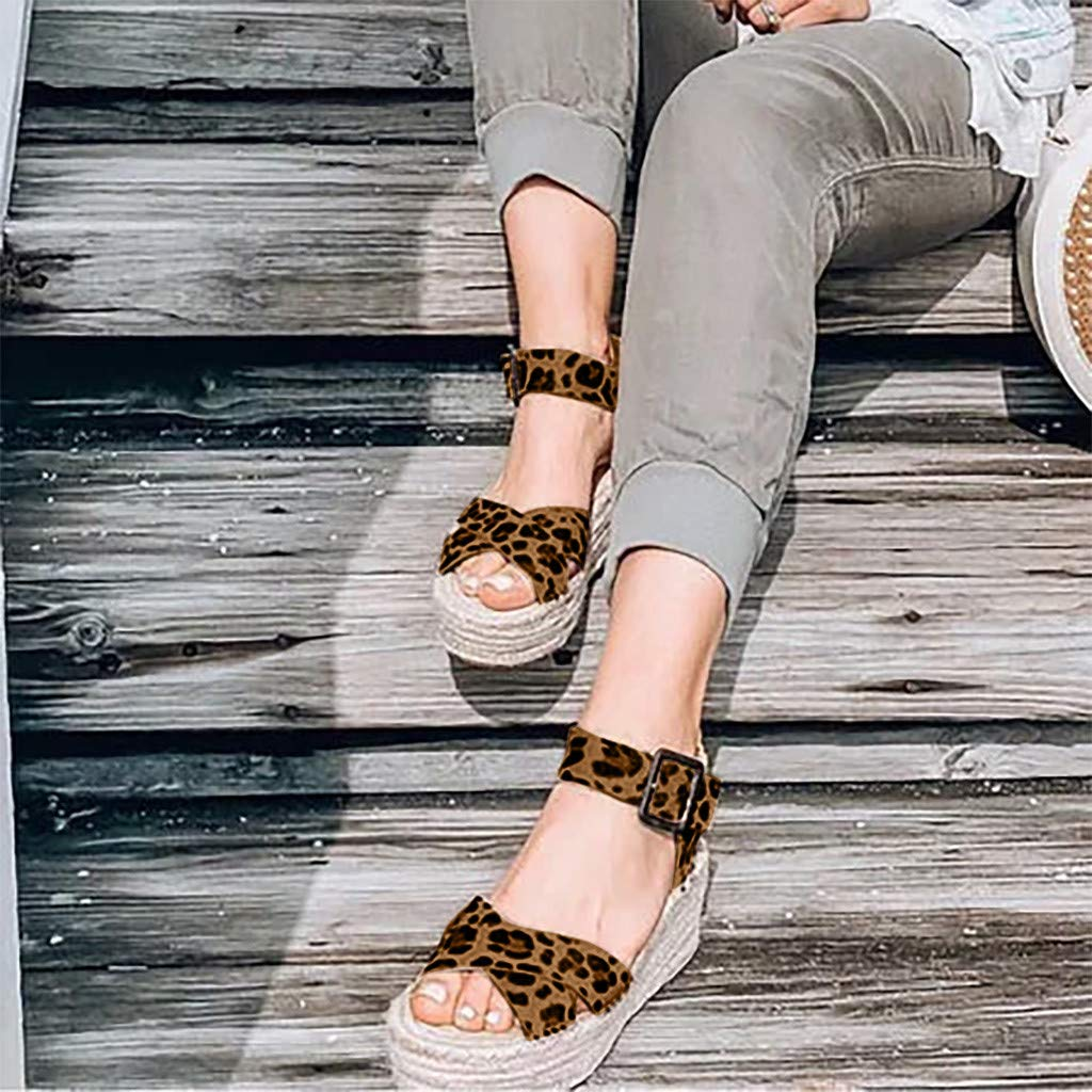 REALIKE Sandalen Damen Römersandalen Leopardenmuster Neu