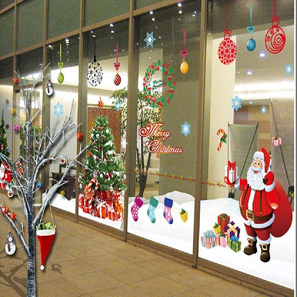 Amazon.com: Christmas Windows Stickers Santa Claus Removable Vinyl Christmas  tree DIY Wall Window Door Mural Decal Sticker for Showcase (Red): Home & ...