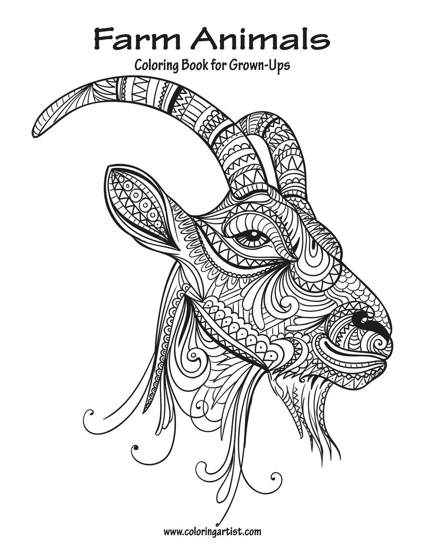 Amazon.com: Farm Animals Coloring Book for Grown-Ups 1 ...