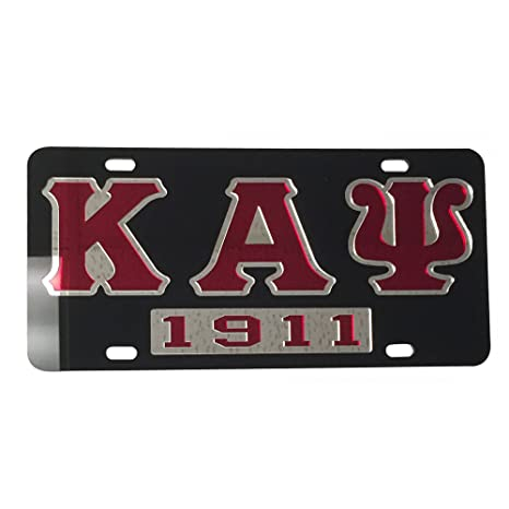 Kappa Alpha Psi License Plate Car Tag - Black Back, Letter Outlined, Year  (#7306)