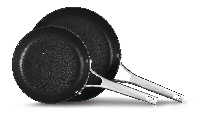 Calphalon 2029637 Premier Hard-Anodized Nonstick 2-Piece 8 10-Inch Frying Pan Set, 8/10 Combo, Black