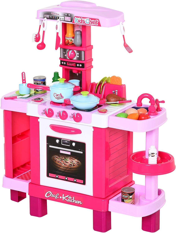 Eau lumi/ère et Son pour Les Filles KP6030 Ensemble de Cuisine avec 36 Accessoires Kinderplay Cuisine Enfant avec Grille-Pain dinette Enfant pour Les Enfants