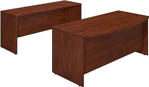 Bush Business Furniture Series C Elite 72W x 36D Bowfront Desk Shell with Credenza in Hansen Cherry