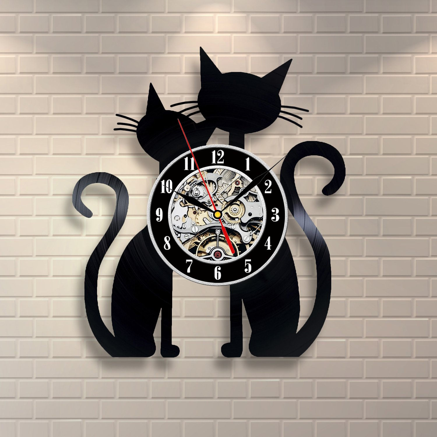 Amazon.com: Cat Vinyl Record Clock Home Design Room Art Decor Animals: Home & Kitchen