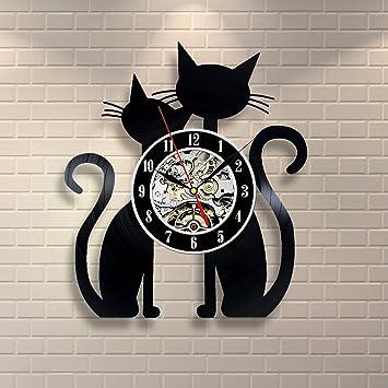 Diseño de discos de vinilo reloj Home de gato decoración de la habitación Arte animales: Amazon.es: Hogar
