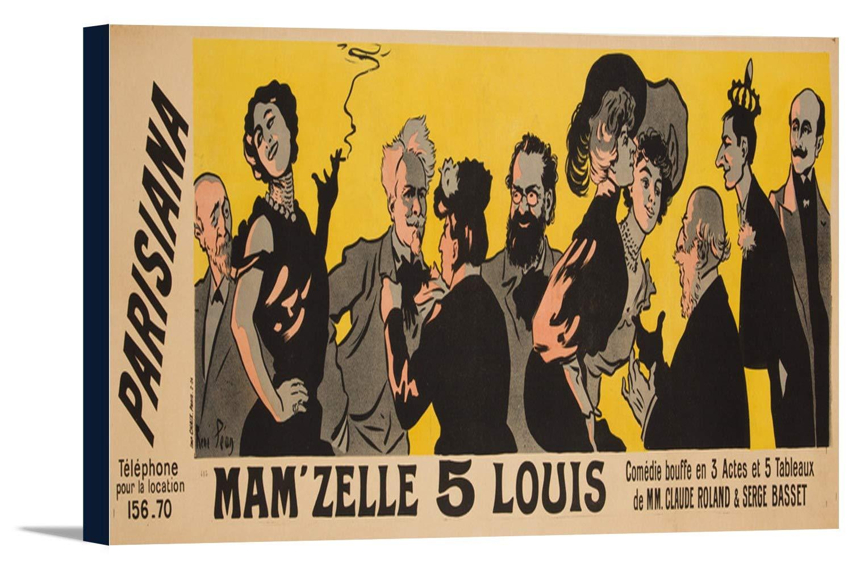Parisiana – Mam 'zelle 5 Louis (左半分)ヴィンテージポスター(アーティスト: Pean )フランスC。1904 36 x 13 1/8 Gallery Canvas LANT-3P-SC-60873-24x36 36 x 13 1/8 Gallery Canvas  B0184ASN2O