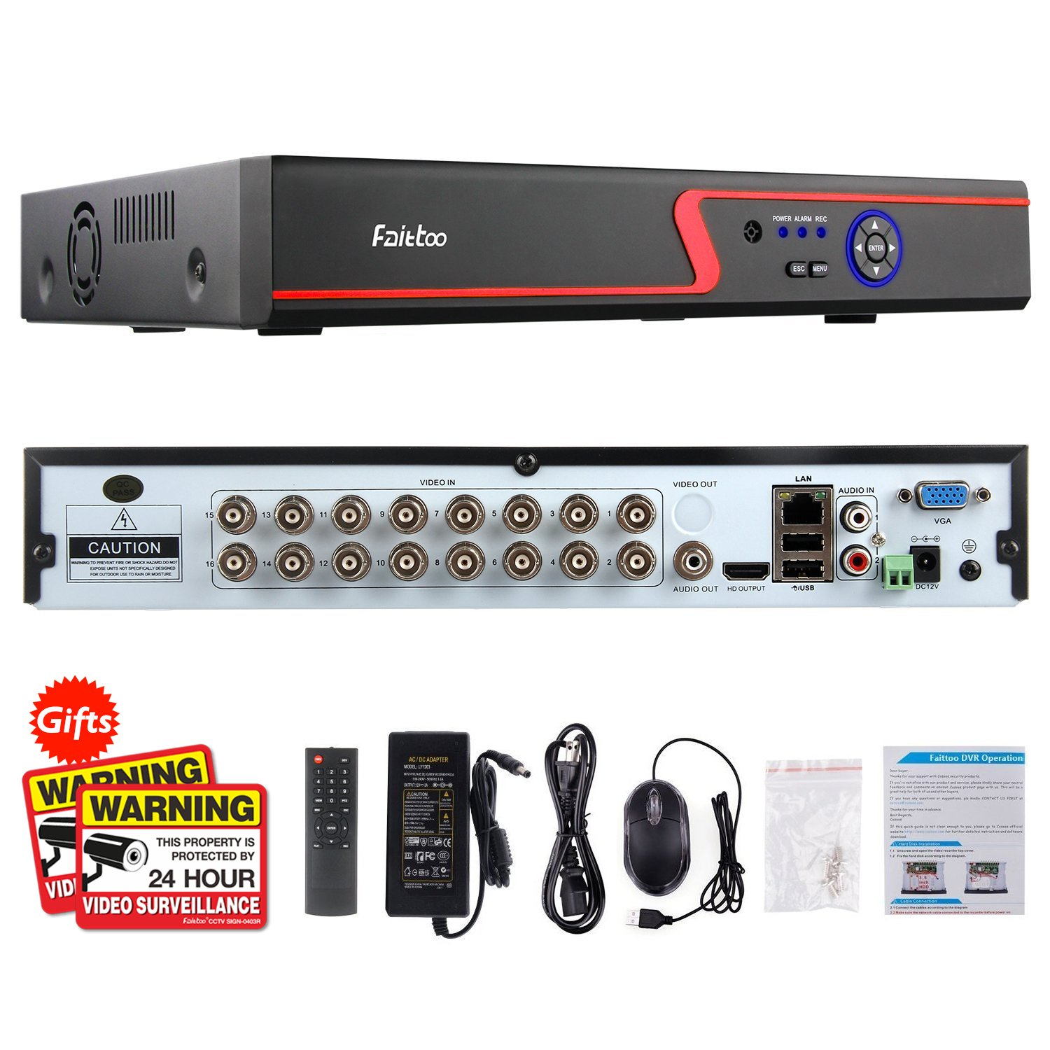 Faittoo H.264 16CH 1080N AHD DVR Hybrid AHD+HVR+TVI+CVI+NVR 5-in-1 Security System Realtime Standalone CCTV Surveillance Onvif P2P Quick QR Code Scan w/Easy Remote View HDMI/VGA Output (No HDD)