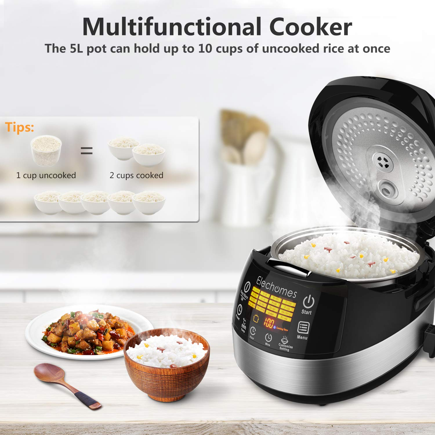 Elechomes LED Touch Control Rice Cooker, 16-in-1 Multi-function Cooker, 10-Cups Uncooked Warmer Cooker with Steam & Rinse Basket, CR502 by Elechomes (Image #4)