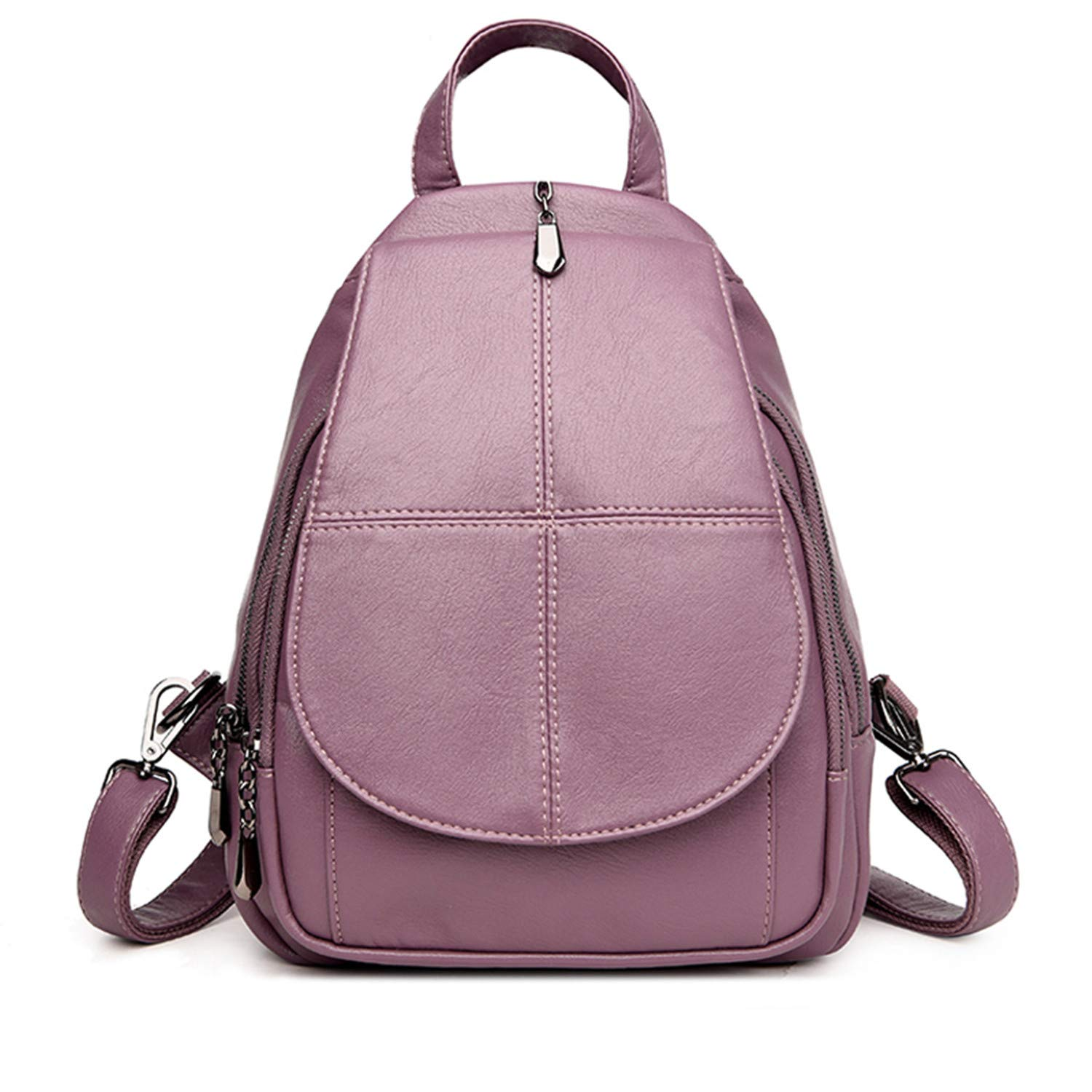 Amazon.com: Fashion Simple Backpack Female Soft Leather School Bags for Girls Luxury Brand Shoulder Bags for Women Mochila Purple 13 Inches: Computers & ...