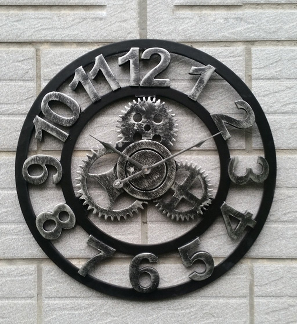 ZHENAI 創造的な木製の壁の時計レトロギア大きな壁のハンガーウォッチリビングルームの壁時計40/50/60/80cmギフト ( 色 : 60 cm 60 cm , サイズ さいず : B ) B07BPDRDL7 B|60 cm 60 cm 60 cm 60 cm B