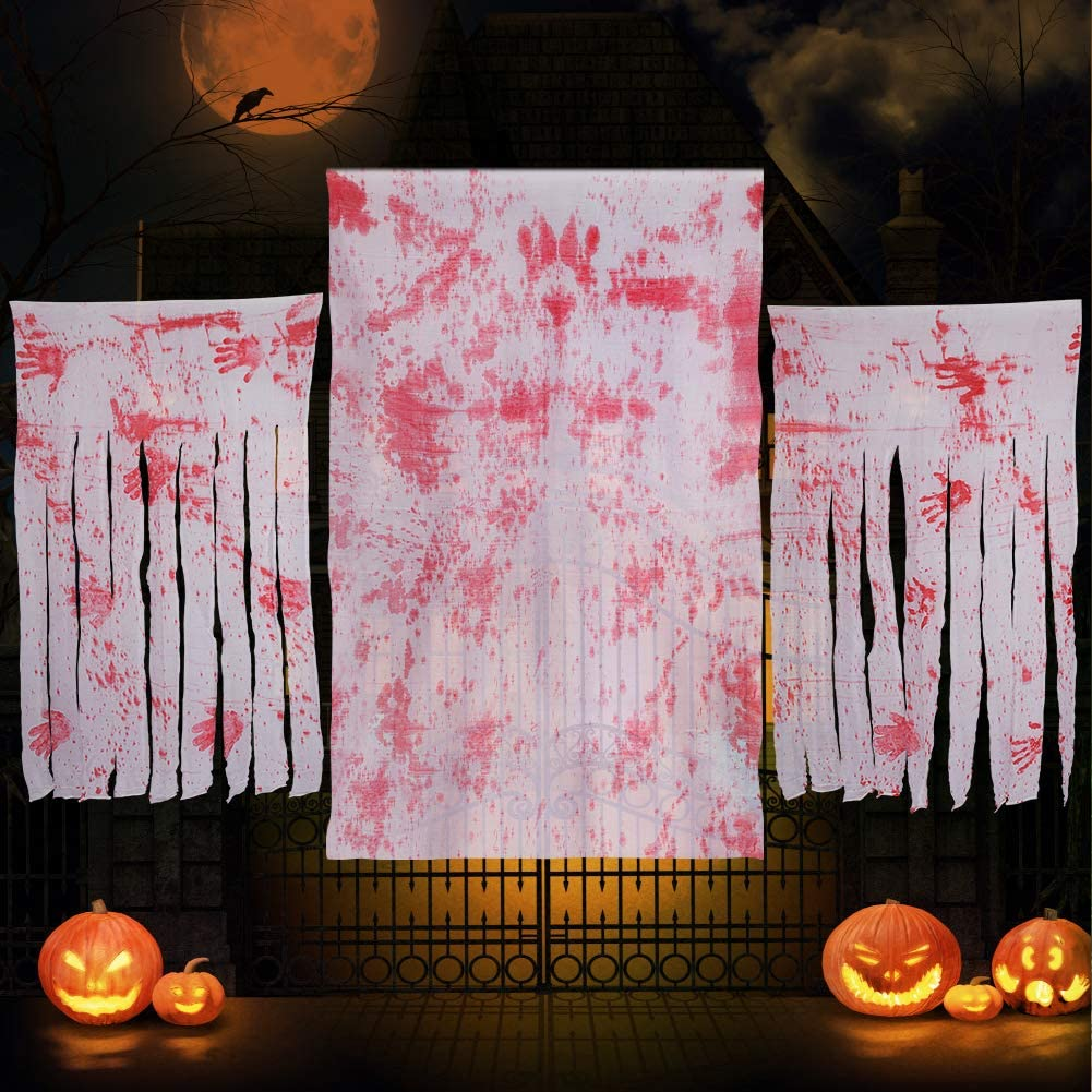 taianle Halloween Gauze Decorations Bloody Handprints Creepy Cloth Horror Party Mosquito Net for Haunted Houses Doorways Windows Party Decor