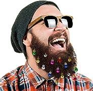 Classical 16pc Beard Ornaments Christmas Beard Bells Santa Claus Beard Clip, 12 Colors of Bulbs and 4 Vibrant Ring Bells