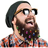 DecoTiny 16pcs Beard Ornaments. 4 Sounding Jingle Bells and 12 Colors of Christmas Baubles. Great Gift Idea!