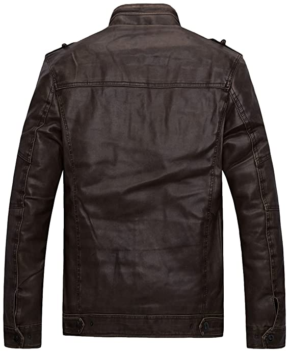 e0403e9c1c0cd Wantdo Men's Vintage Stand Collar Faux Leather Jacket