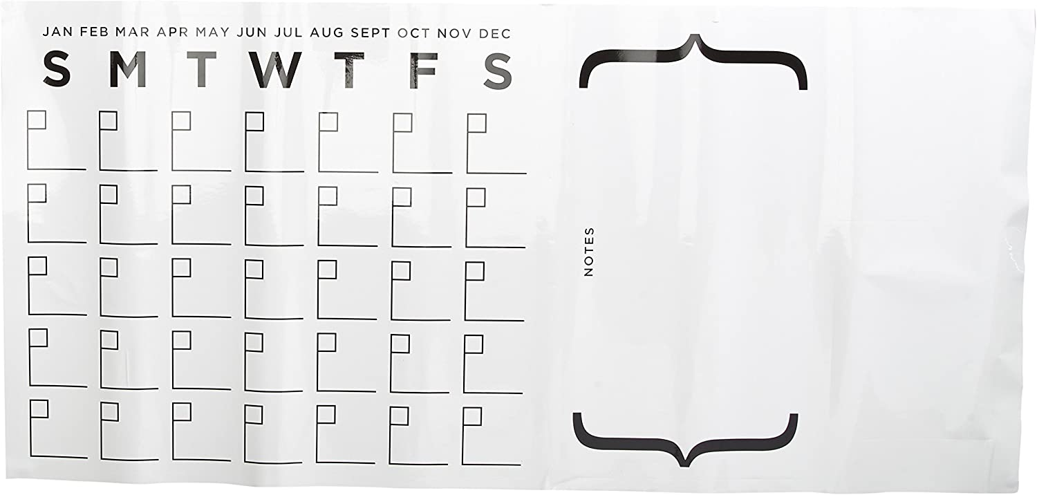 RoomMates Dry Erase Calendar Peel And Stick Giant Wall Decal Set