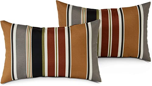 South Pine Porch AM5811S2-BRICK Brick Stripe Outdoor 19×12-inch Rectangle Accent Pillow, Set of 2