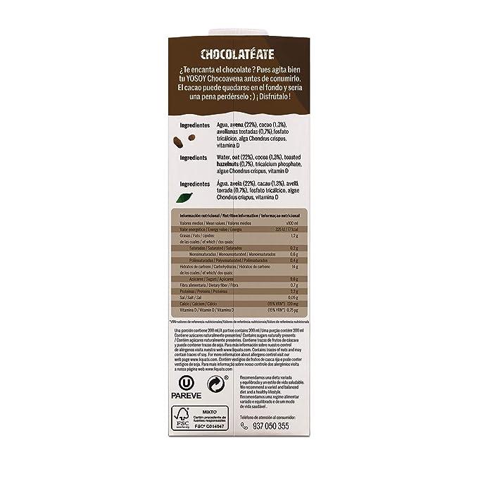 YOSOY Bebida de Avena con Avellanas y Cacao 1L [caja de 6 x 1L]: Amazon.es: Alimentación y bebidas