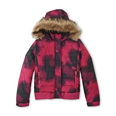 e610f9067862 Amazon.com  Athletech Girls Smudge Print Puffer Coat w. Faux Fur ...