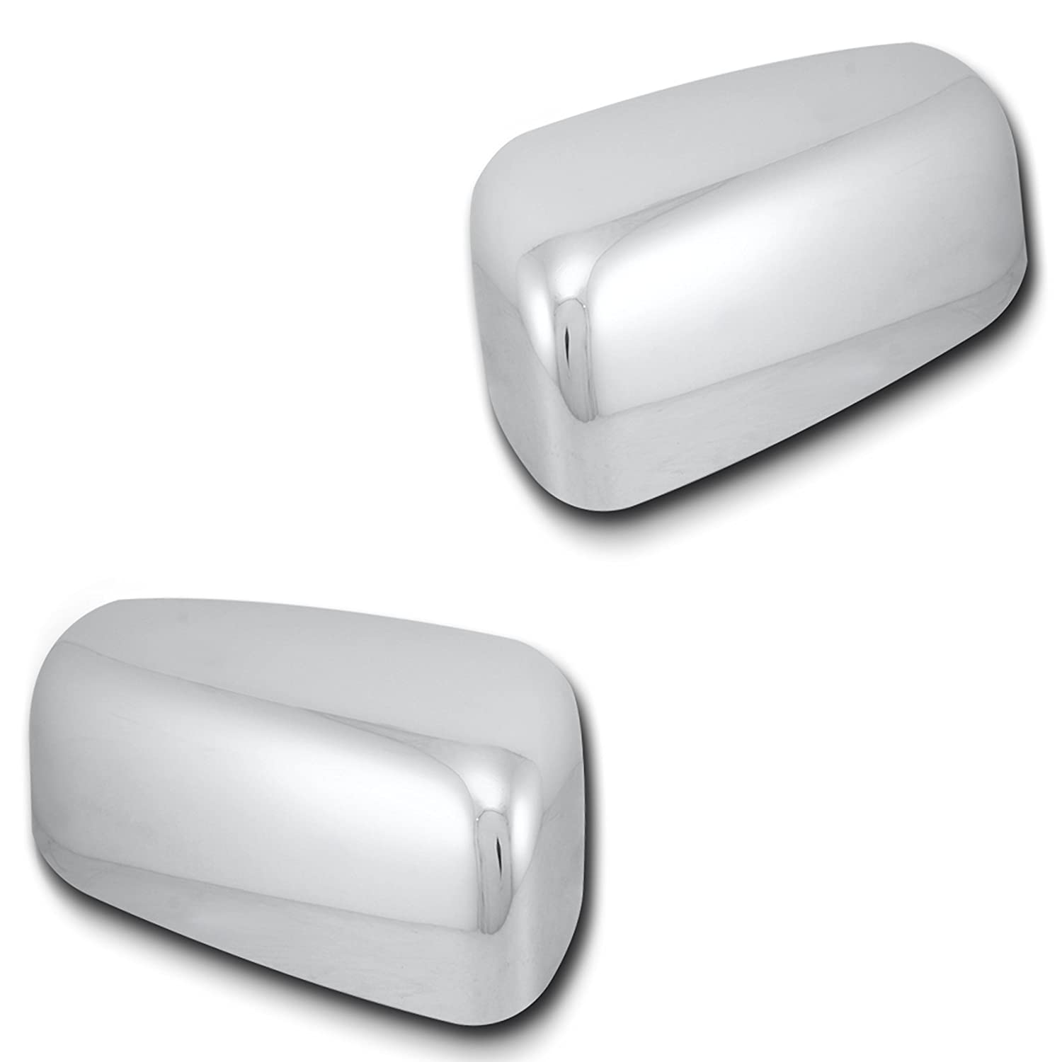 AutoModZone Chrome ABS Side View Mirror Upper Top Half Mirror Cover 2-pc Set for 09-17 Dodge Ram 1500 with Turn Signal Cutout