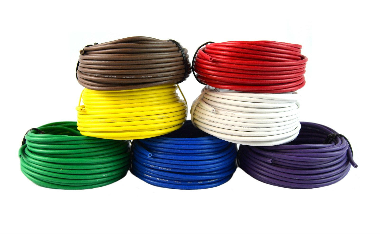 Best Connections 18 Gauge Trailer Light Cable Wiring Harness 25 Feet Each 7 Rolls 175 Feet Total