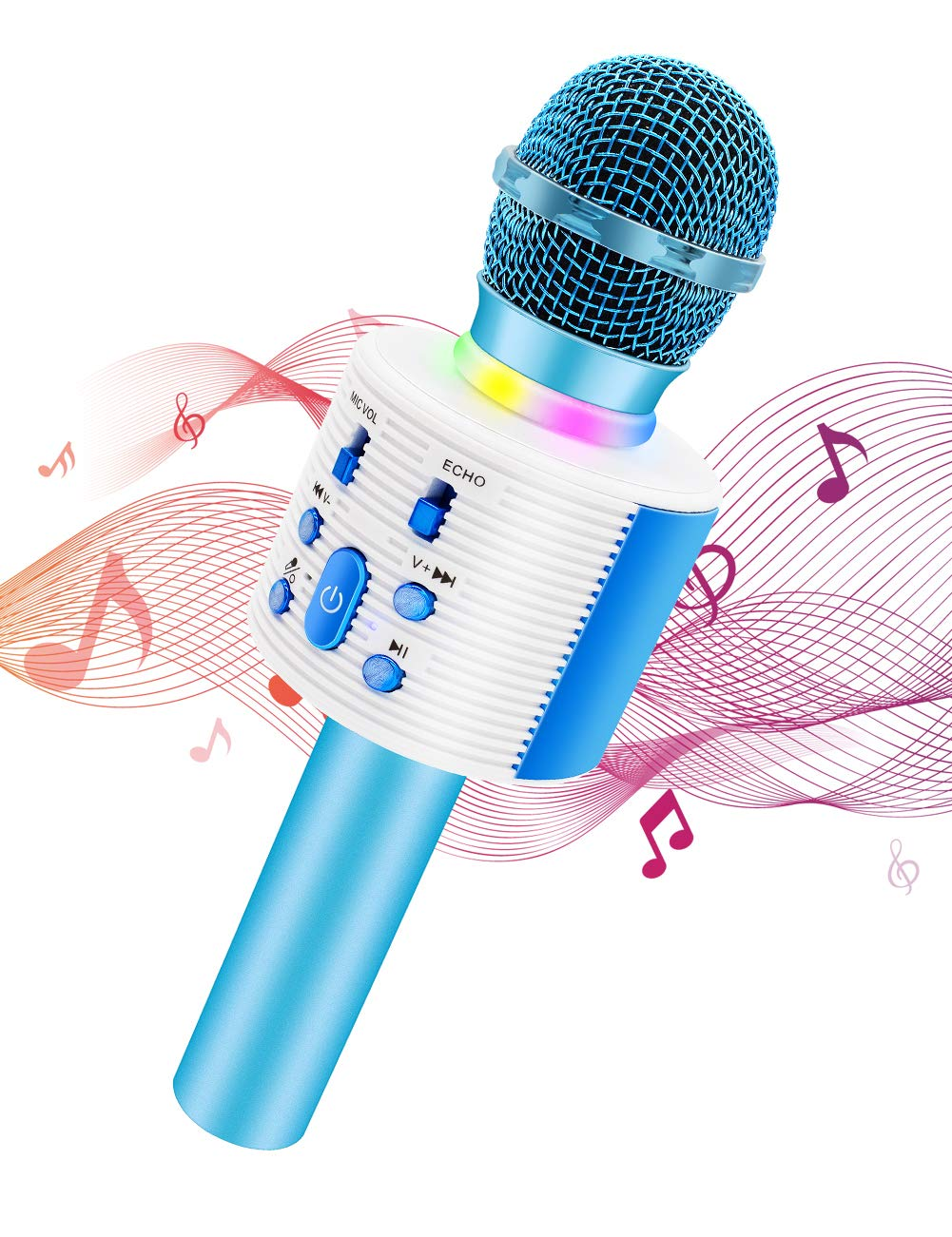 Wireless Karaoke Microphone with Speaker Pro, 3-in-1 Portable Handheld Karaoke Mic Home Party Birthday Gifts for Kids Speaker Machine for Android/ PC /phone(Blue)