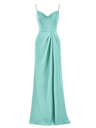 Alicepub Long Chiffon Bridesmaid Dress Spaghetti Party Evening Dresses Prom Gown, Aqua Blue, US0