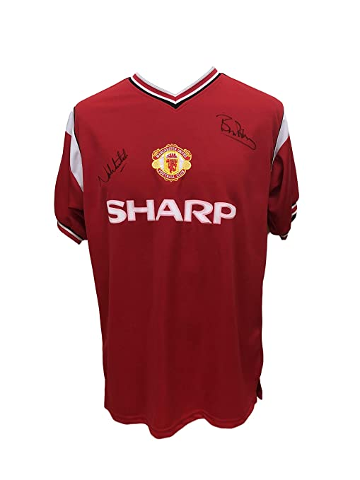 f8ca9d744b3 Allstarsignings Bryan Robson Norman Whiteside dual signed Manchester United  1985 Final football shirt with COA and proof  Amazon.co.uk  Sports    Outdoors