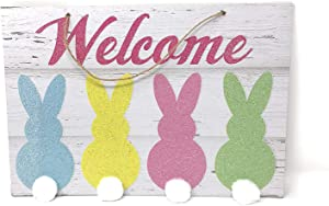 Glittery Easter Bunny Cottontail Themed Hanging Welcome Sign