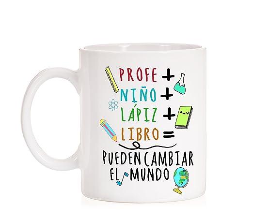 Taza Profe + Niño + Lápiz + Libro=Pueden Cambiar el Mundo. Taza ...