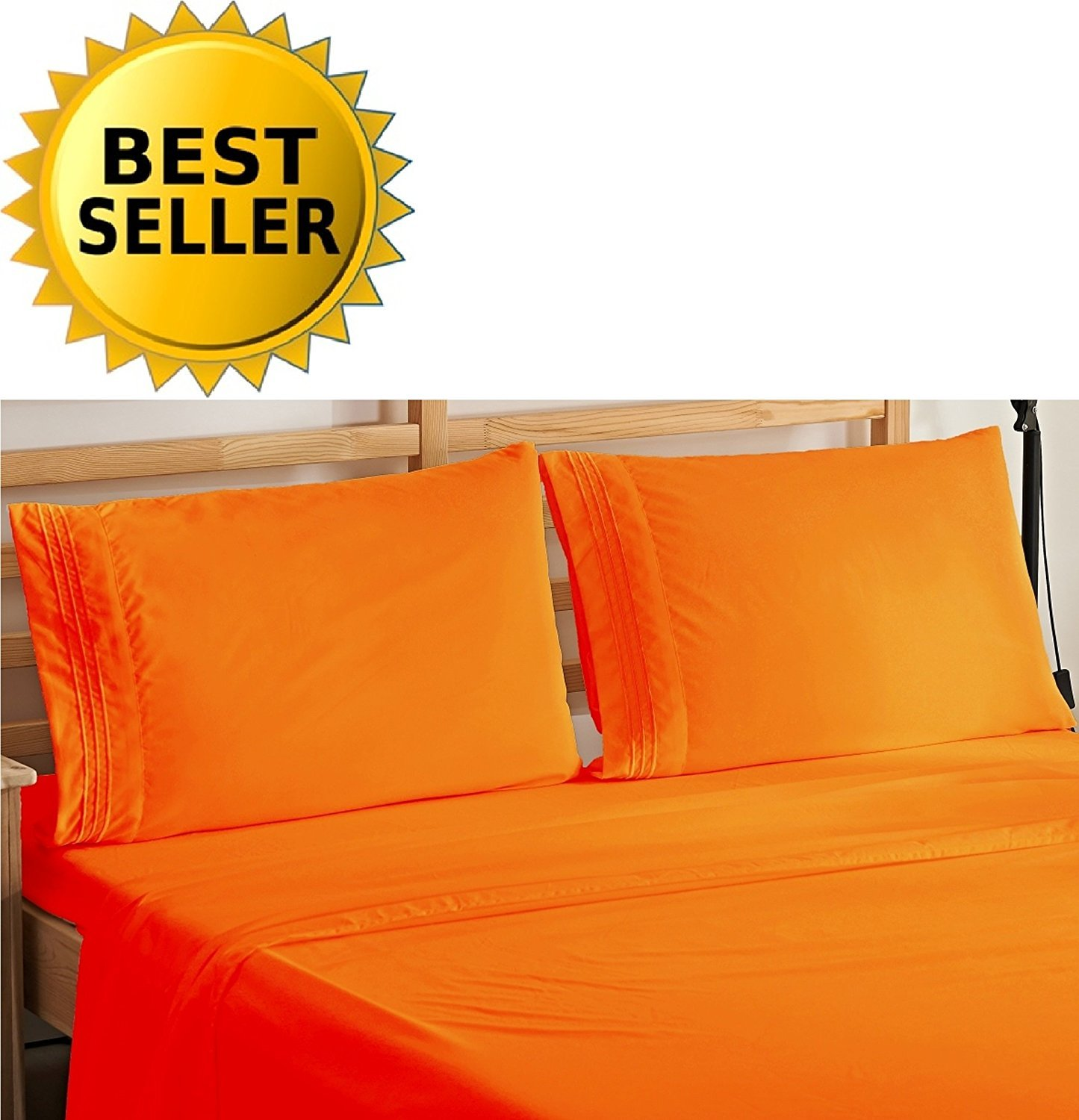 Elegant Comfort 4-Piece Bedding Sheet Set! Luxury Soft 1500 Thread Count Egyptian Quality Wrinkle & Fade Resistant with Deep Pocket, King, Elite Orange