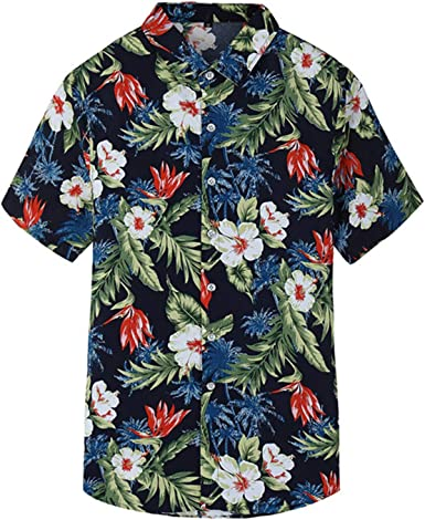Auspiciousi Camisa de Manga Corta para Hombre Camisa Casual de Moda Camisa de Flores Talla Grande: Amazon.es: Ropa y accesorios