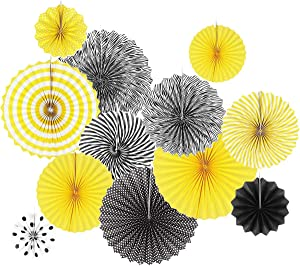 Set of 12 Black Yellow Bee Party Decoration Hanging Paper Fan Paper Pompoms Backdrop for Bumblebee Bee Baby Shower Gender Reveal Birthday Party Decoration Wedding Bridal Shower Centerpieces Home Decor
